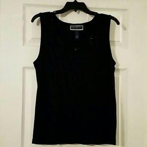 Karen Scott L blk tank w/beaded neckline
